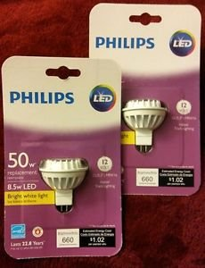 2 Philips 9290011504 12v 8.5w MRX16 LED Bulb, 50w Replacement, 660 Lumens 3000K