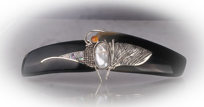 Sterling Silver Hair Barrette. Natural Barette. Sterling Silver Jewelry, Hair Accessories.