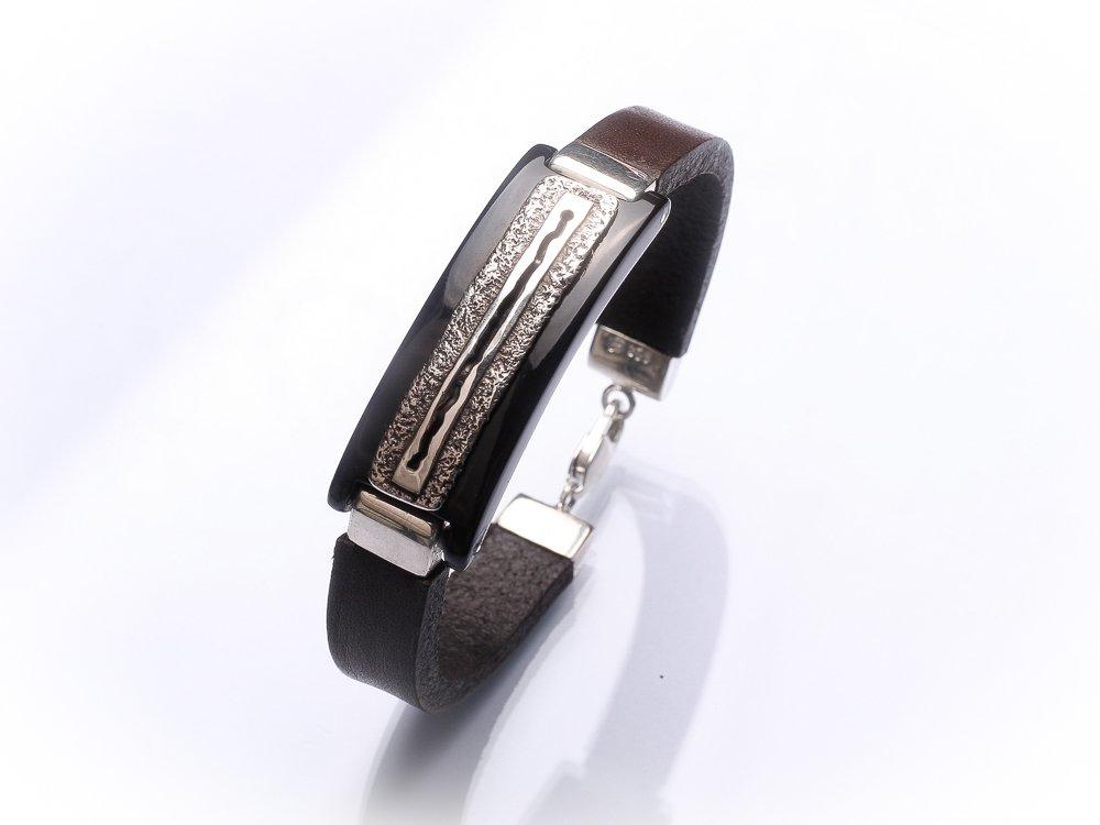 Men unisex bracelet Dark brown leather bracelet Textured oxidized sterling silver
