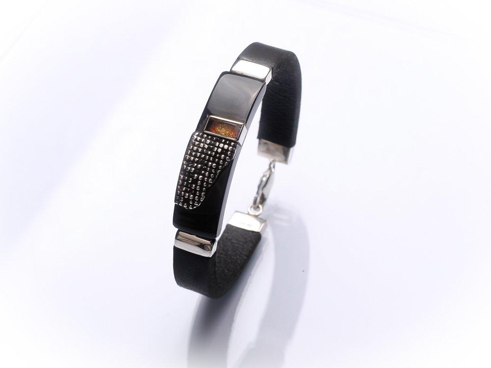 Men unisex bracelet Black leather bracelet Sterling silver amber gold inlay