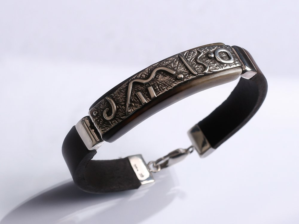 Men unisex bracelet Dark brown leather bracelet Textured oxidized sterling silver