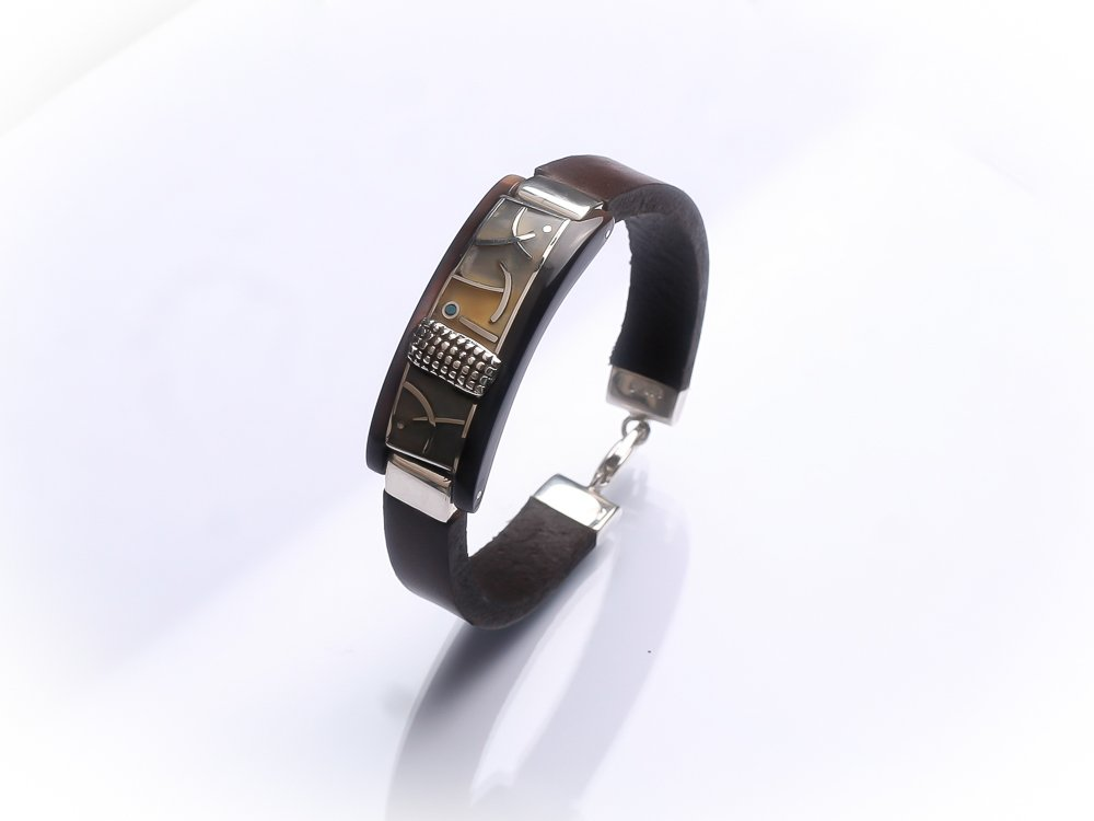 Sterling silver men unisex bracelet Dark brown leather bracelet Turquoise inlay