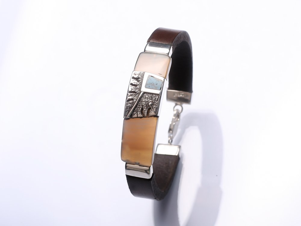 Sterling silver Dark brown leather bracelet Gift for her Gift for Him His and hers