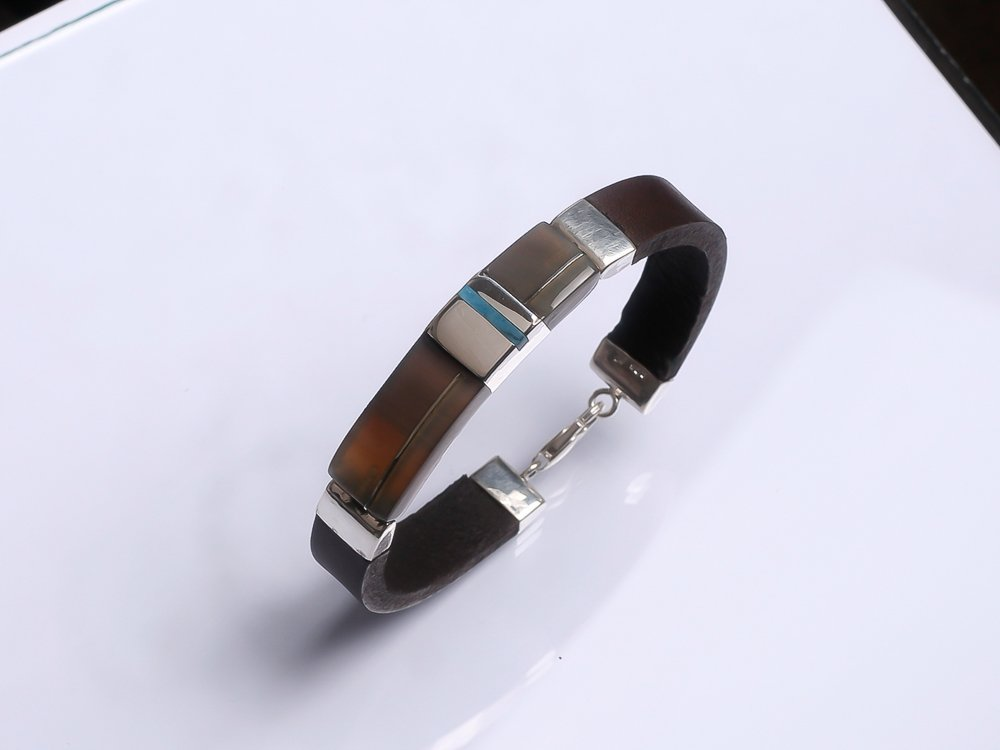 925 Sterling silver bracelet Dark brown leather bracelet Gift for Him His and hers