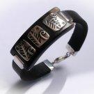 925 Sterling silver Black leather bracelet . Gift for her. Unusual leather bracelet.