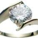 18K Gold Plated Solid Sterling Silver Solitaire CZ Ring