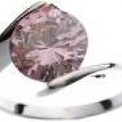 18K White Gold Plated Solitaire Pink CZ Ring