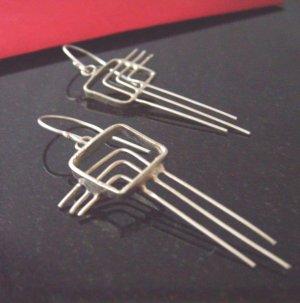 Sterling Silver Art Deco Style Ice Earrings