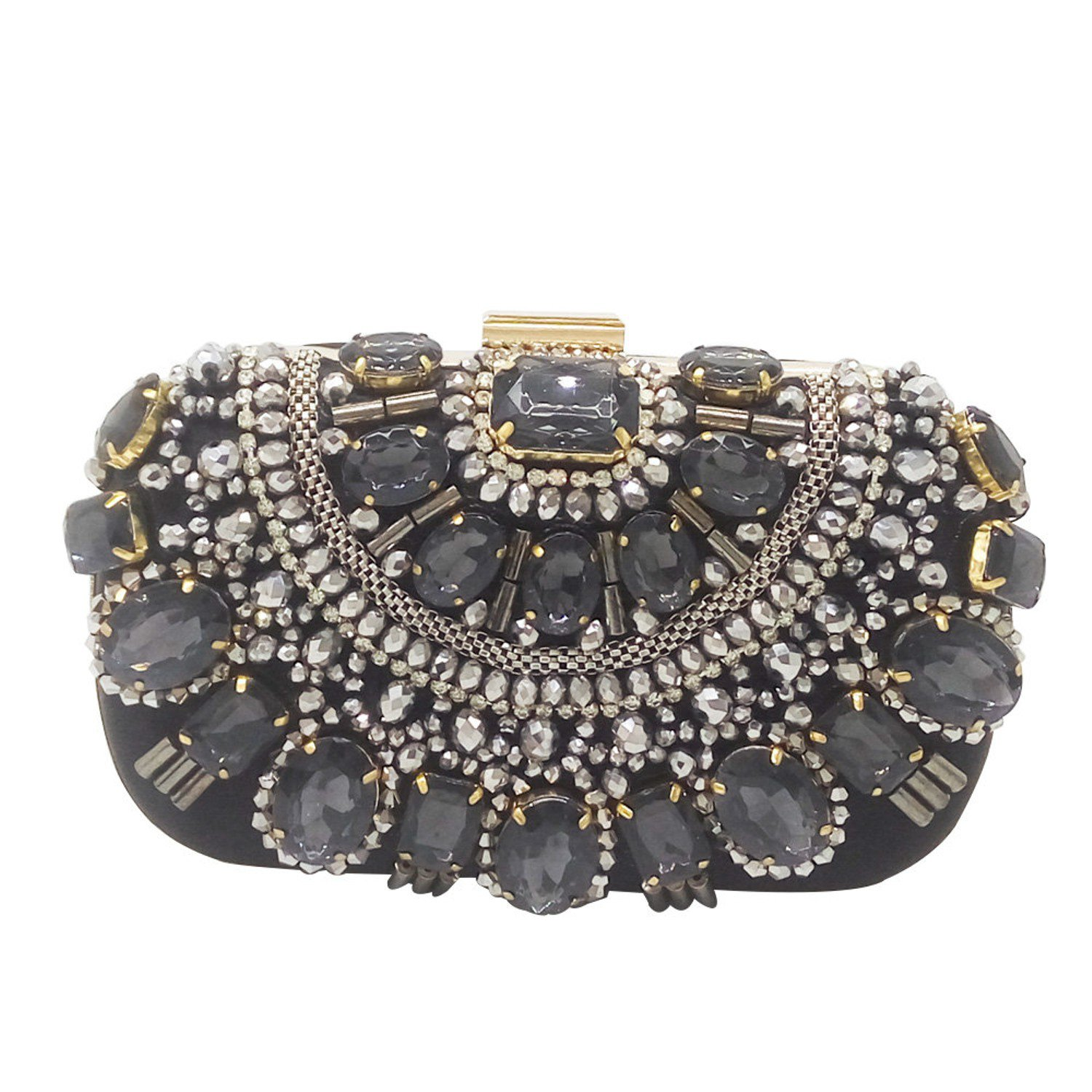 Women's Black Crystal Evening Clutch in Metal with Silver Beads