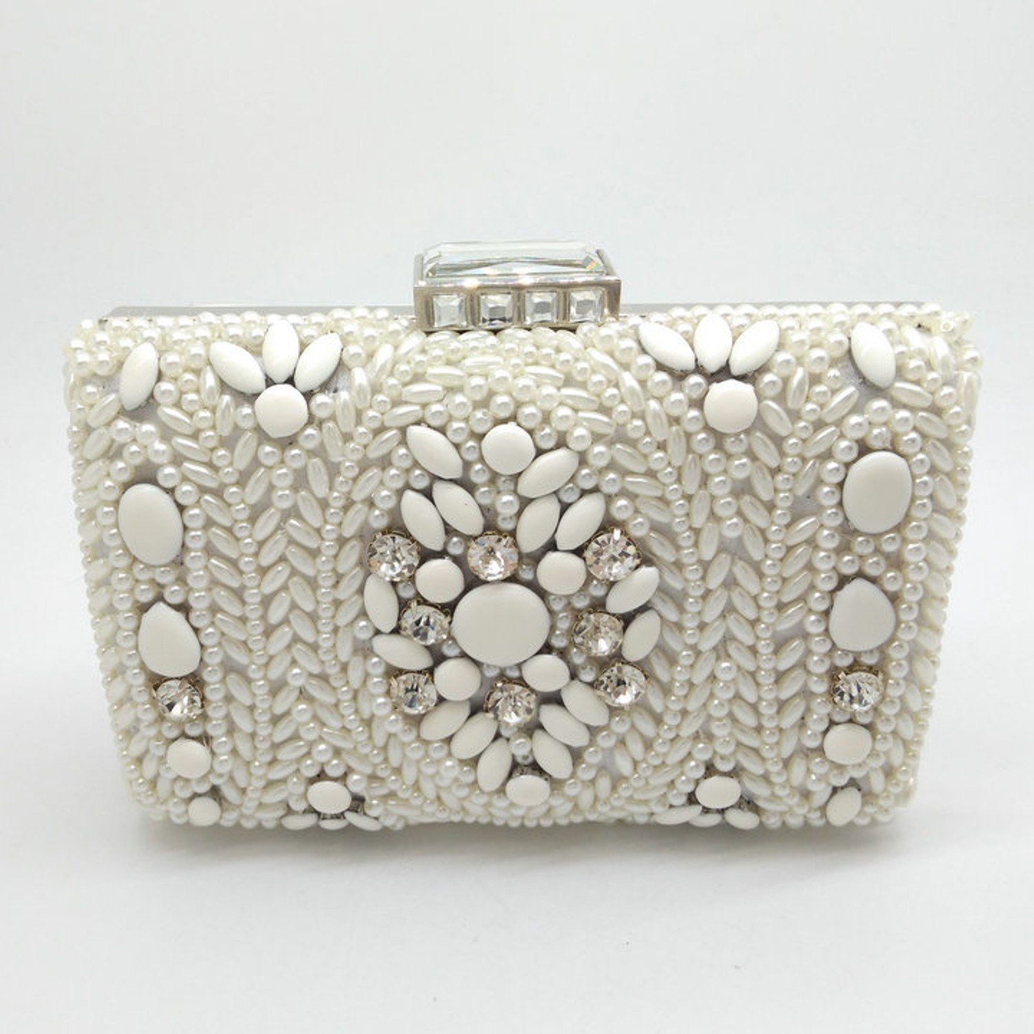 Women's White Pearl Evening Clutch in Metal with White Beads