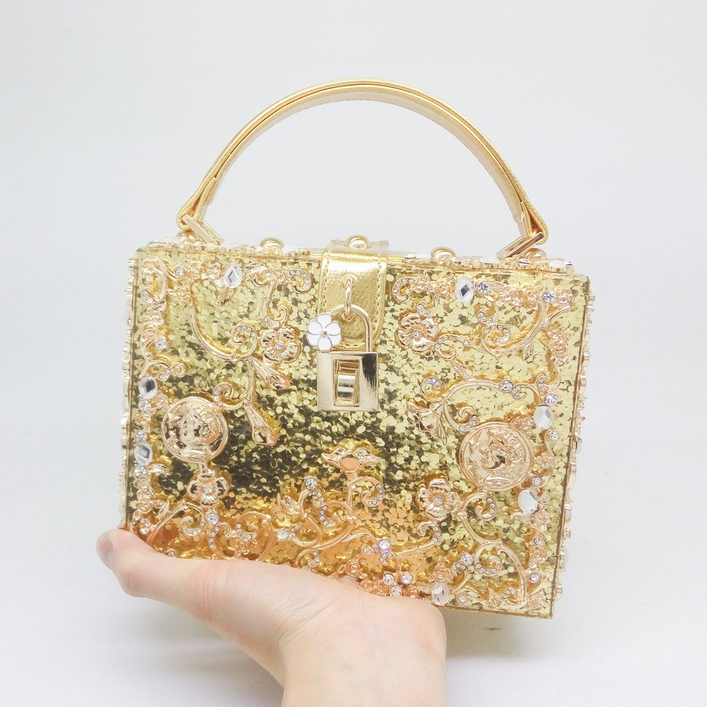 Women's Floral Crystal Acrylic Shoulder Bags in Gold
