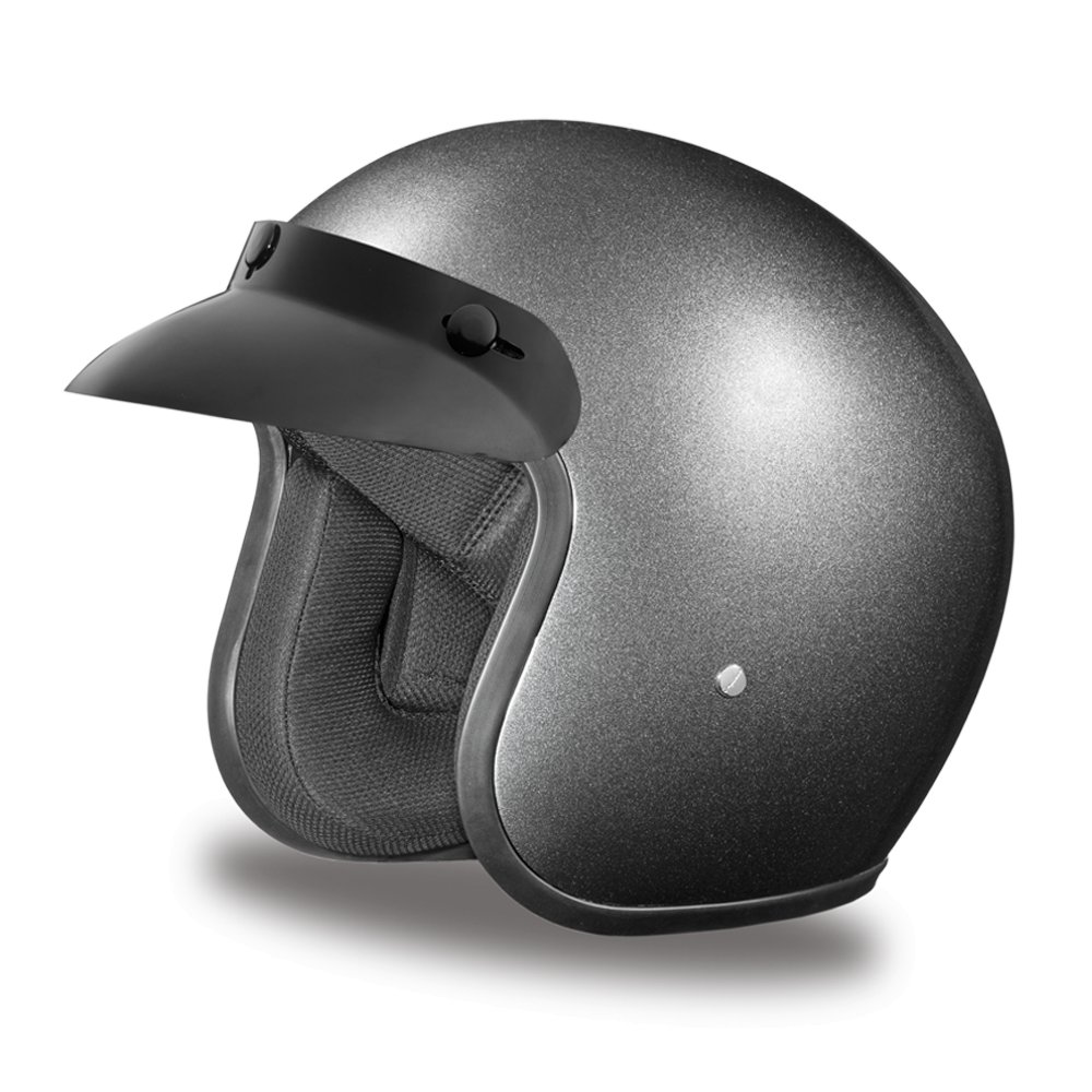 New Daytona Cruiser Metal Gray Open Face DOT Motorcycle Helmet All sizes DC1-GM