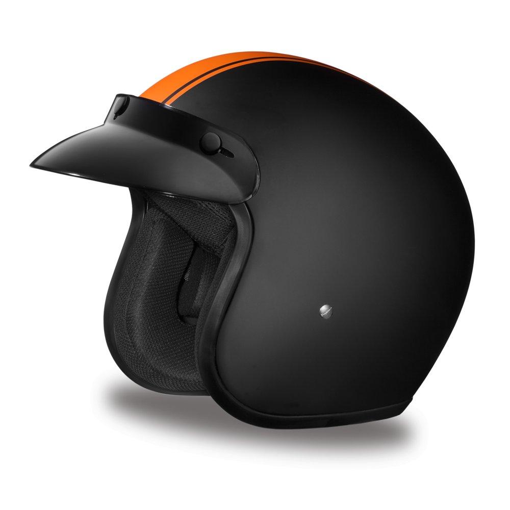 New Daytona CRUISER- W/ ORANGE PIN STRIPE DOT Motorcycle Helmet All sizes DC6-O