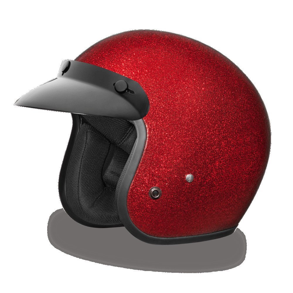 Brand new Daytona CRUISER-RED METAL FLAKE Open face DOT Motorcycle Helmet DC7-RD