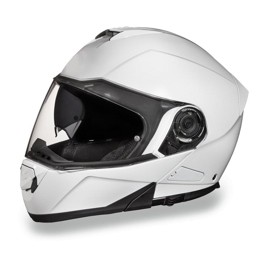 Daytona Helmets DOT GLIDE-HI-GLOSS WHITE Modular Flip-Up Motorcycle Helmet MG1-C