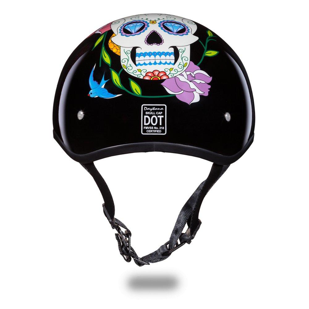 Brand New Daytona Skull CAP-W/ DIAMOND SKULL DOT Chopper Motorcycle Helmet D6-DS