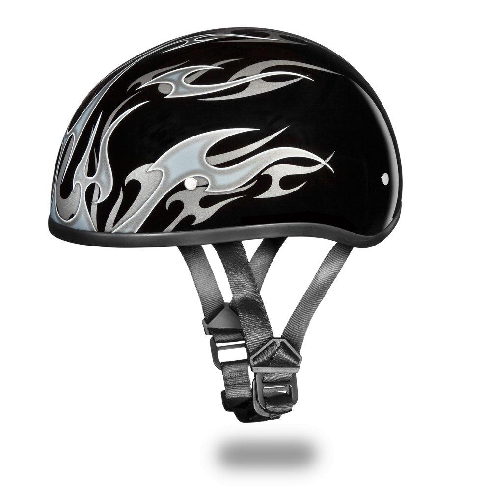 Brand New Daytona Helmets Skull Cap W/ FLAMES SILVER DOT Motorcycle Helmet D6-FS