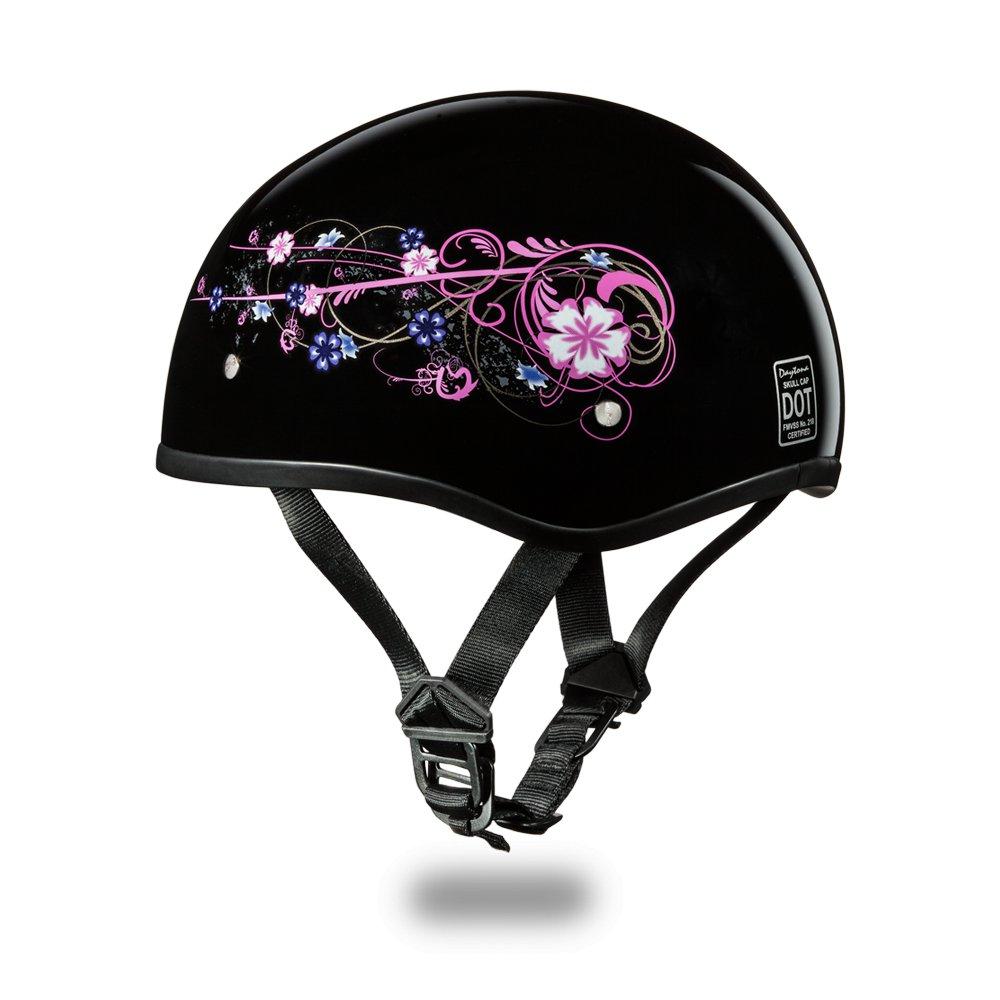 Brand New Daytona Helmets Skull Cap- W/ FLOWERS DOT Motorcycle Helmet  D6-FLO