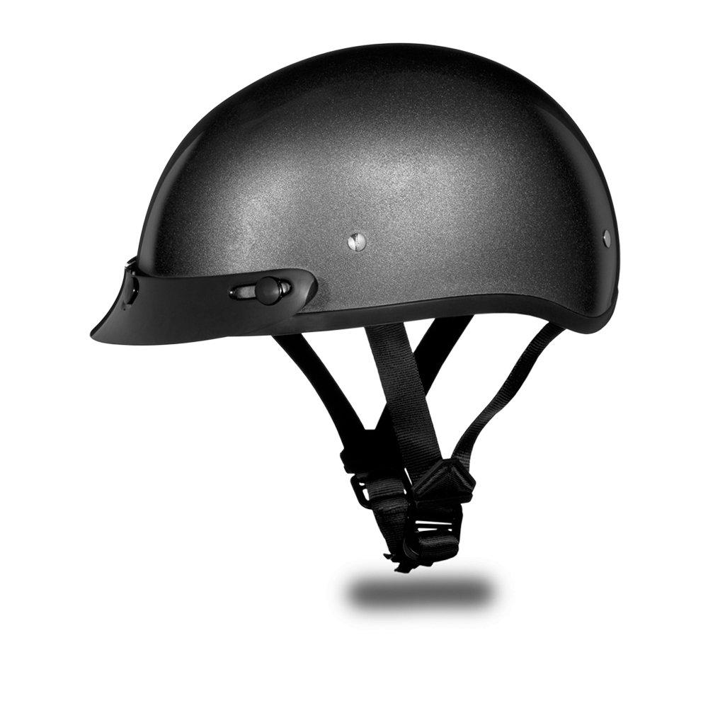 Daytona Helmets Skull Cap CAP- GUN METAL GREY METAL Motorcycle DOT Helmet D1-GM