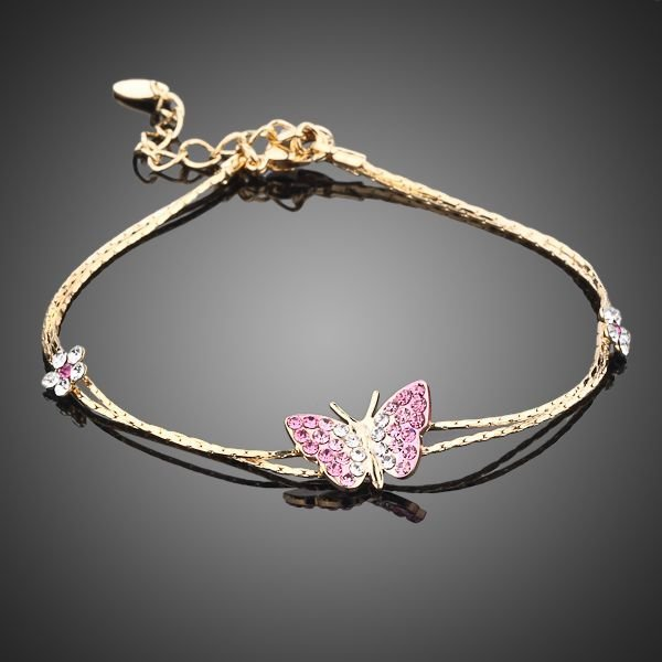 GOLD PLATED CRYSTAL BUTTERFLY AND FLOWER BRACELET