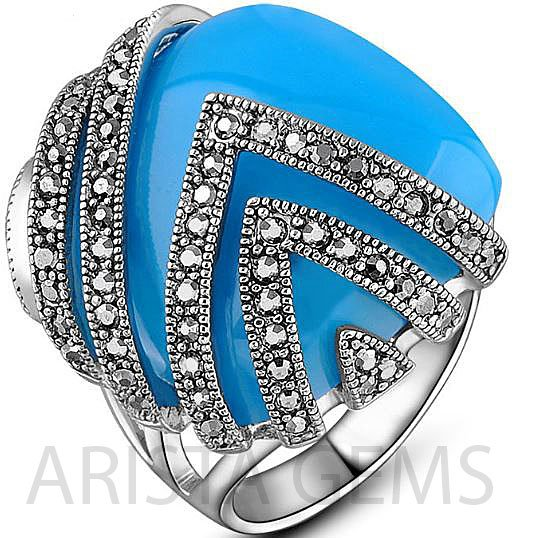 SQUARE COCKTAIL RETRO MARCASITE BLUE RING
