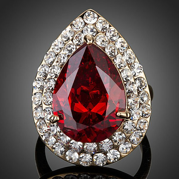 GOLD PLATED RED CUBIC ZIRCONIA STONES WATER DROP RING