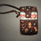 Yorki Dog zip Around Wristlet Wallet Quilted Purse.