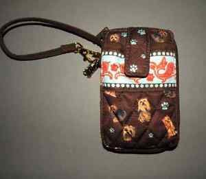 Yorki Dog zip Around Wristlet Wallet Quilted Purse.