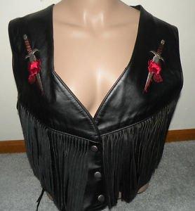 Park V Leather Vest L Biker Motorcycle Roses Dagger Dripping Blood LOW Cut