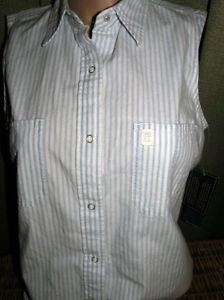 Ralph Lauren Blouse Top  $59 MSRP ~ Shelter Island ~ Indigo & White ~ Snap Front