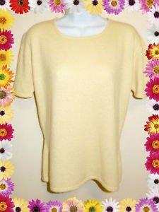 Kirkland 100% 2-Ply Cashmere Sweater ~ Short Sleeve ~ Butter Yellow