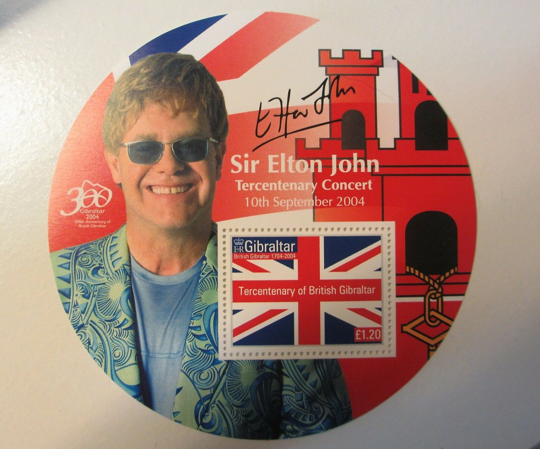 """ELTON JOHN 2002 Gibraltar Round 4"""" Souvenir Stamp Sheet; MNH"""