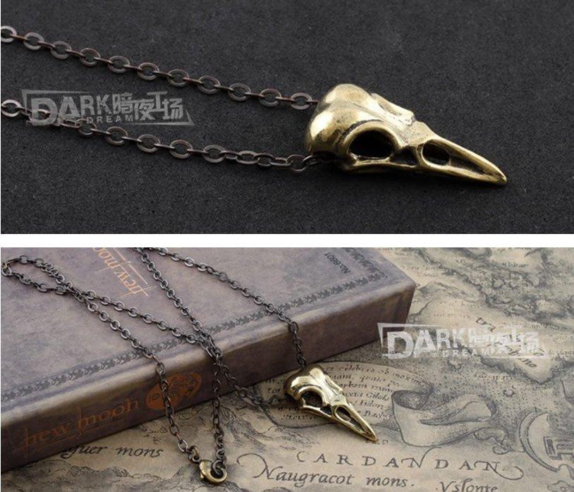 Gothic Punk Copper Bird Head Skul Pendant Necklace Amulet High Quality