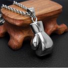 Fashio 3D Boxing Glove Charm Stainless Steel Men's Pendant Necklace 20inch Chain