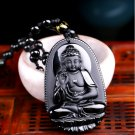 Obsidian Carved Buddha Lucky Amulet Pendant Necklace