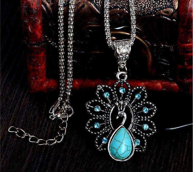 Elegant blue turquoise peacock necklaces natural stone austrian crystal pendant necklace vintage