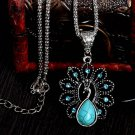 Elegant blue turquoise peacock necklaces natural stone austrian crystal pendant necklace vintage