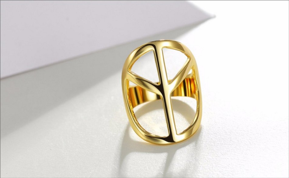 Gold Plated Hollow Out Rings Peace Symbols Finger Rings Female Geometric