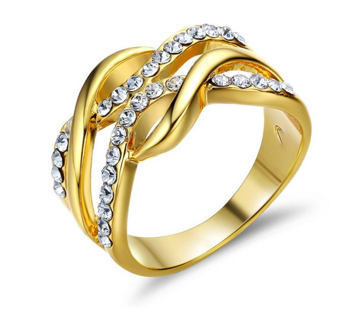 Gold Plated Multilayer Size Rings For Women Rhinestone Paved Twisted Design