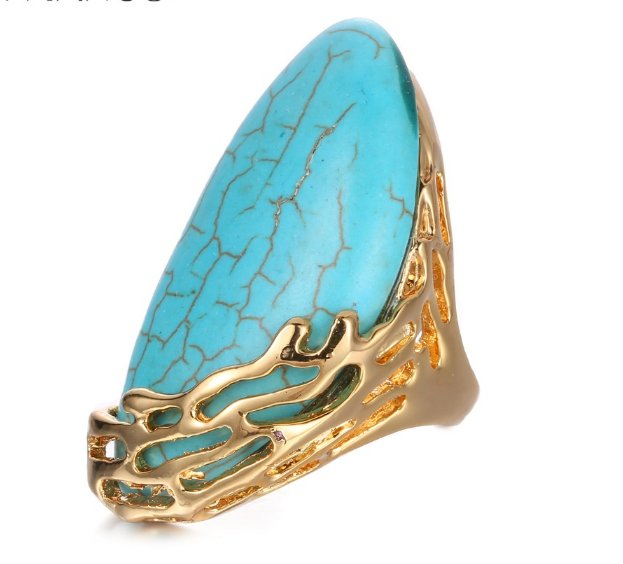 Natural Stone Ethnic Vintage Geometric Statement Large Rings Turquoise Gold Plated