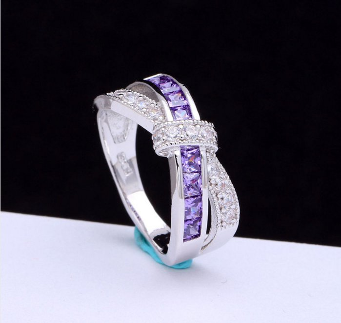 Ring luxury hot Princess women Wedding Engagement Ring purple pink color jewelry