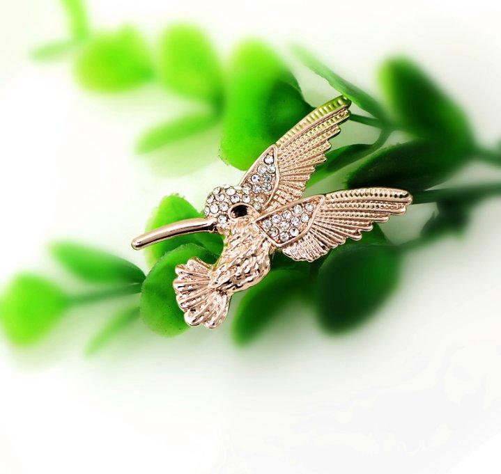 Fashion Jewelry Rhinestone Hummingbird Brooch Pin Cute Animal Bird Pin