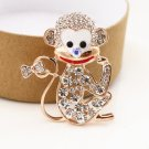 Rhinestone Monkey Brooch Pin Cute Animal Pin Women's Jewelry Brooches Garment Accessories
