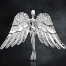 Fashiona Jewelry Silver Angel Brooches Pin Zinc Alloy Rhinestone Pin