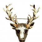Elk Deer Head Brooch Pins Women Men Brooches Hijab Pin Lapel Jewelry