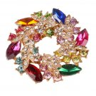 High Quality Fashion Rhinestone Brooch for Women Alloy Round Colorful Brooches Pins