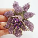 Vintage Style Purple Rhinestones Crystal Orchid Flower Brooch Pin Fashion Woman Flower