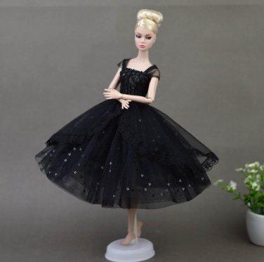 Doll Dresses Elegant Lady Black Little Dress Evening Dress Clothes for Barbie Dolls