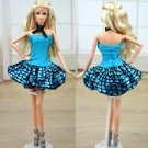 Doll Accessories Blue Clothes For Barbie Doll House Dress Party Gown Summer Short Dresses Vestidos