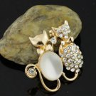 Double Bowknot Cat Created Opals Crystal Brooches Pins Brooch for Women Jewelry